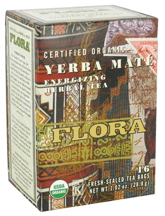 DROPPED: Flora - Certified Organic Herbal Tea Energizing Yerba Mate - 16 Tea Bags