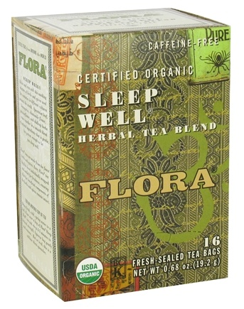DROPPED: Flora - Certified Organic Herbal Tea Blend Sleep Well Caffeine-Free - 16 Tea Bags