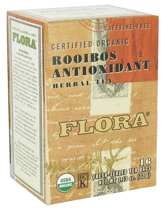 Flora - Certified Organic Herbal Tea Rooibos Antioxidant Caffeine-Free - 16 Tea Bags