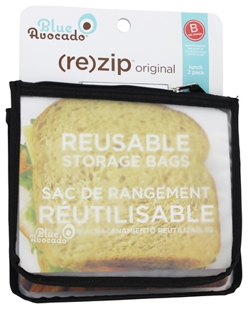 DROPPED: Blue Avocado - (Re)Zip Lunch Reusable Storage Bags Black Solid - 2 Pack