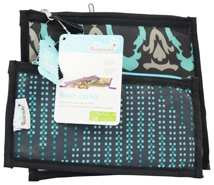 Blue Avocado - Fresh Zip Kit Zippered Reusable Lunch Sleeves Black Baroque/Black Dotted Chevron