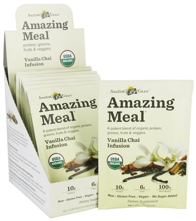 DROPPED: Amazing Grass - Amazing Meal Powder Packets Vanilla Chai Infusion - 10 x 24g Packets