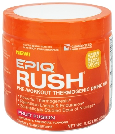 DROPPED: EPIQ - Rush Pre-Workout Thermogenic Drink Mix Fruit Fusion - 238 Grams