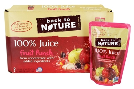 Back To Nature - 100% Natural Juice Fruit Punch  8 Pouches (8 x 6 oz. / 177 mL Pouches)