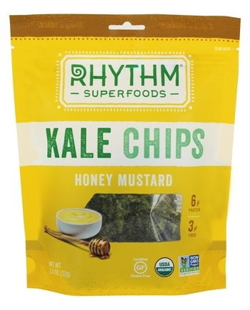 Rhythm Superfoods - Organic Kale Chips Raw Honey Mustard - 2 oz.