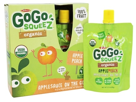 DROPPED: Materne - GoGo Squeez Organic AppleSauce On The Go Apple Peach 4pack/3.2 oz.
