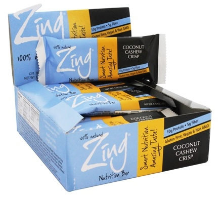 DROPPED: Zing Bars - 100% Natural Nutrition Bar Coconut Cashew Crisp - 1.76 oz.