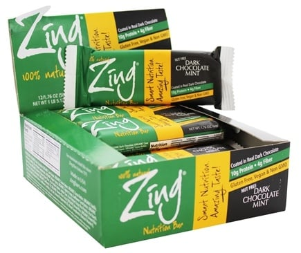 DROPPED: Zing Bars - 100% Natural Nutrition Bar Dark Chocolate Mint - 1.76 oz.