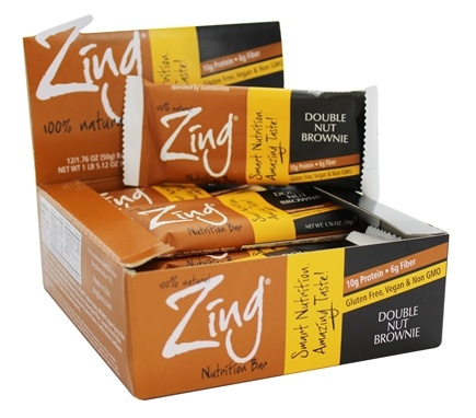 DROPPED: Zing Bars - 100% Natural Nutrition Bar Double Nut Brownie - 1.76 oz.