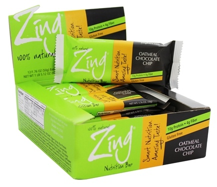 DROPPED: Zing Bars - 100% Natural Nutrition Bar Oatmeal Chocolate Chip - 1.76 oz.