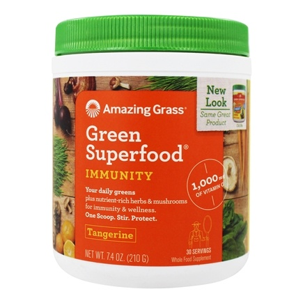 Amazing Grass - Green SuperFood Immunity Defense Drink Powder Tangerine - 7.4 oz.