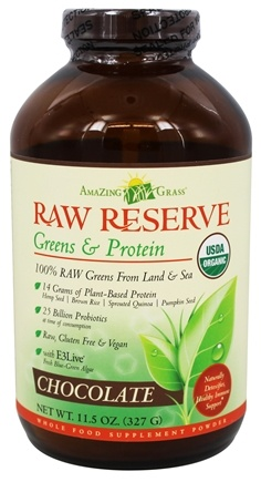 Amazing Grass - Raw Reserve Greens & Protein Chocolate - 11.5 oz.