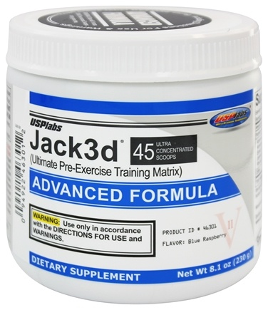 DROPPED: USP Labs - Jack3d Advanced Formula Blue Raspberry 45 Servings - 218 Grams