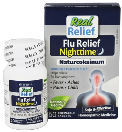 Homeolab USA - Real Relief Flu Nighttime Naturcoksinum - 60 Chewable Tablets