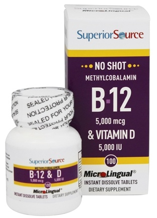 Superior Source - No Shot B12 5000 mcg. & Vitamin D 5000 IU - 100 Tablets