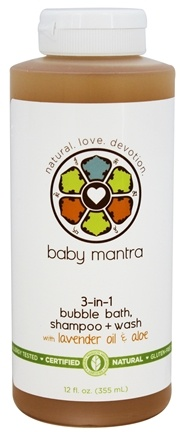 Baby Mantra - 3-in-1 Bubble Bath, Shampoo + Wash with Lavender Oil & Aloe - 12 oz.