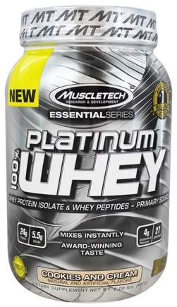 DROPPED: Muscletech Products - Platinum Essential Series 100% Whey Cookies and Cream - 2 lbs.