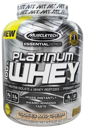 DROPPED: Muscletech Products - Platinum Essential Series 100% Whey Cookies and Cream - 5 lbs.