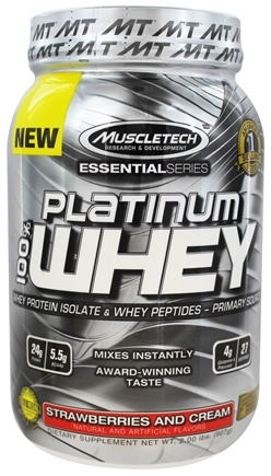 Muscletech Products - Platinum Essential Series 100% Whey Strawberries and Cream - 2 lbs.