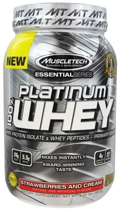 DROPPED: Muscletech Products - Platinum Essential Series 100% Whey Strawberries and Cream - 2 lbs.