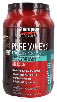 Champion Performance - Pure Whey Plus Protein Stack Chocolate Brownie - 2 lbs.