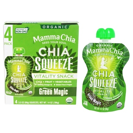 Mamma Chia - Organic Chia Squeeze Vitality Snack Green Magic - 4x 3.5 oz. Squeezes