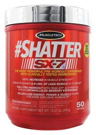 Muscletech Products - #Shatter SX-7 Watermelon Fusion 50 Servings - 10.3 oz.