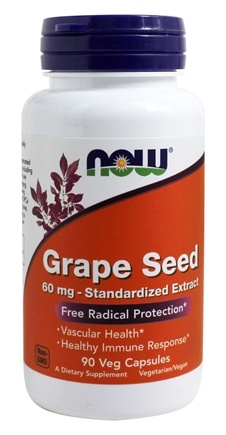 NOW Foods - Grape Seed Antioxidant Standardized Extract 60 mg. - 90 Vegetarian Capsules