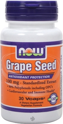 DROPPED: NOW Foods - Grape Seed Antioxidant Standardized Extract 100 mg. - 30 Vegetarian Capsules