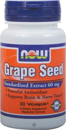 DROPPED: NOW Foods - Grape Seed Antioxidant Standardized Extract 60 mg. - 30 Vegetarian Capsules