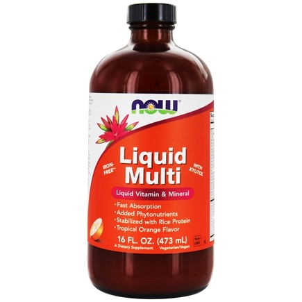 NOW Foods - Liquid Multi Liquid Vitamin & Mineral - Iron Free with Xylitol Tropical Orange Flavor - 16 oz.