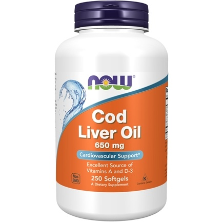 NOW Foods - Cod Liver Oil Double Strength 650 mg. - 250 Softgels