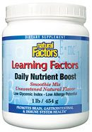DROPPED: Natural Factors - Learning Factors Daily Nutrient Boost Smoothie Mix Berry Flavored Powder - 2 lbs.