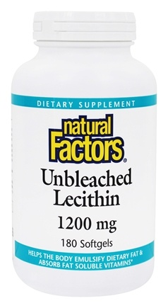 Natural Factors - Lecithin Unbleached 1200 mg. - 180 Softgels