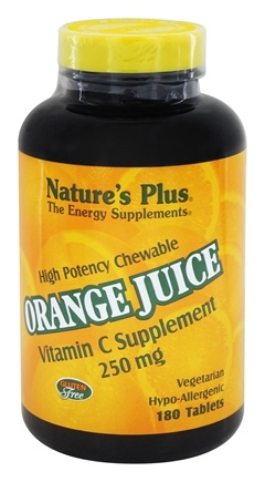 Nature's Plus - Orange Juice Chewable Vitamin C 250 mg. - 180 Chewable Tablets