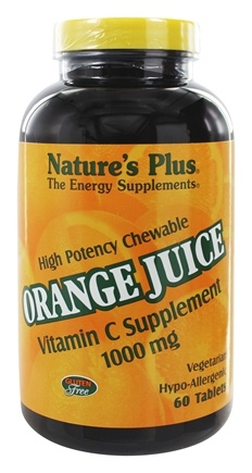 Nature's Plus - Orange Juice Chewable Vitamin C 1000 mg. - 60 Chewable Tablets