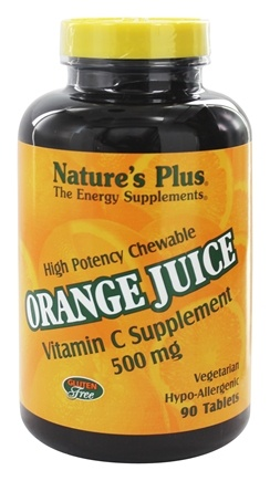 Nature's Plus - Orange Juice Chewable Vitamin C 500 mg. - 90 Chewable Tablets