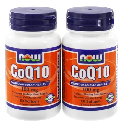 DROPPED: NOW Foods - CoQ10 with Rice Bran Oil & Vitamin E (50+50) Twin Pack Special 100 mg. - 100 Softgels CLEARANCE PRICED