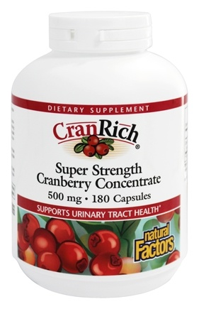 Natural Factors - Cran Rich Super Strength Cranberry Concentrate 500 mg. - 180 Capsules