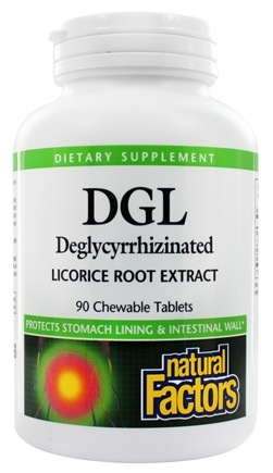Natural Factors - DGL Deglycyrrhizinated Licorice Root Extract 400 mg. - 90 Chewable Tablets
