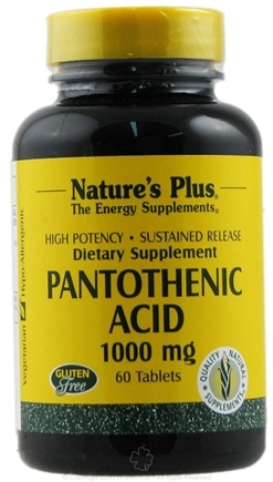 DROPPED: Nature's Plus - Pantothenic Acid S/R 1000 mg. - 60 Tablets CLEARANCE PRICED