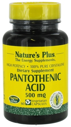 DROPPED: Nature's Plus - Pantothenic Acid 500 mg. - 60 Vegetarian Capsules CLEARANCE PRICED