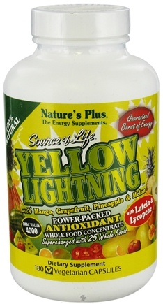 DROPPED: Nature's Plus - Source of Life Yellow Lightning - 180 Vegetarian Capsules CLEARANCE PRICED