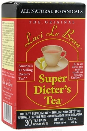 DROPPED: Laci Le Beau - Super Dieter's Tea All Natural Botanicals Caffeine Free - 30 Tea Bags CLEARANCE PRICED