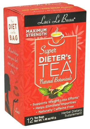DROPPED: Laci Le Beau - Super Dieter's Tea Maximum Strength Caffeine Free - 12 Tea Bags CLEARANCE PRICED