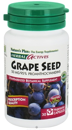 DROPPED: Nature's Plus - Herbal Actives Grape Seed 50 mg. - 30 Vegetarian Capsules CLEARANCE PRICED