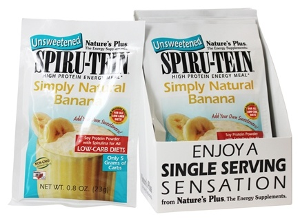 DROPPED: Nature's Plus - Spiru-Tein UNSWEETENED High Protein Energy Meal Simply Natural Banana - 1 Packet