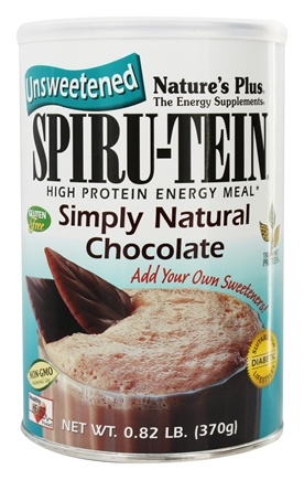 Nature's Plus - Spiru-Tein UNSWEETENED High Protein Energy Meal Simply Natural Chocolate - 0.82 lbs.