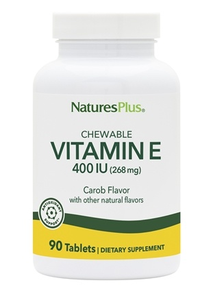 Nature's Plus - Vitamin E Natural Carob Flavored 400 IU - 90 Chewable Tablets