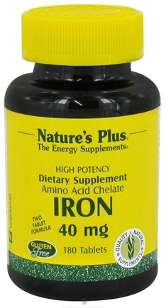 DROPPED: Nature's Plus - Iron 40 mg. - 180 Tablets